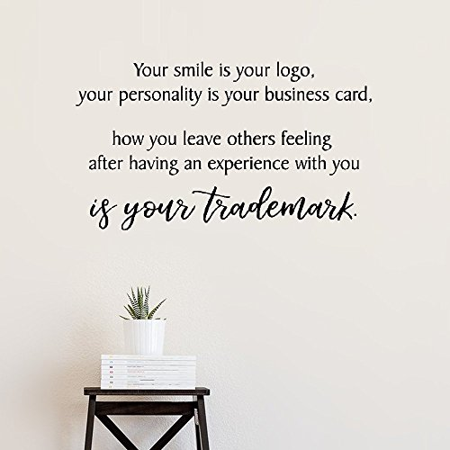 - kiurgy Vinyl Saying Lettering Wall Art Inspirational Sign Wall Quote Decor Your Smile is Your Logo Your Personality is Your Business Card for Bedroom