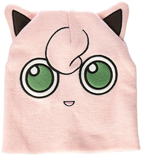 BIOWORLD Pokemon Jigglypuff Big Face Fleece Cap Beanie with Ears (Jigglypuff Pokemon)