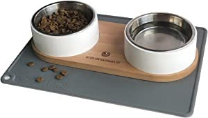 Marchul Cat Bowls with Double Stainless Steel Bowls, Wood Stand with Food Mat, Raised Food and Water Bowls for Cat and Small Dog, Dishwasher Safe