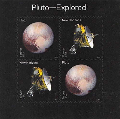 Pluto-Explored! Souvenir Sheet of 4 Self-Adhesive Collectible USPS Forever Postage Stamps