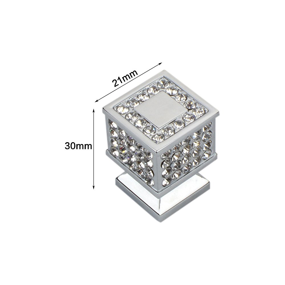 Zhi Jin 2Pcs Square Crystal Cabinet Knob Handle Bling Drawer Knobs Pulls Furniture Decoration Silver by ZHI JIN (Image #2)