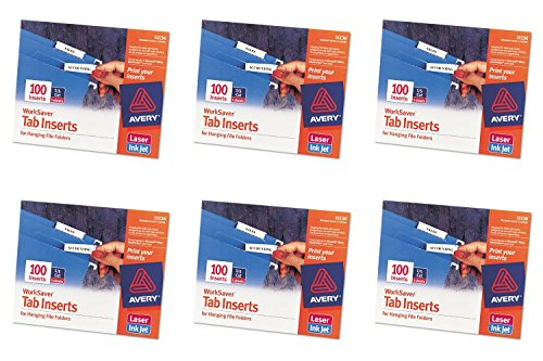 - Avery WorkSaver Tab Inserts, 2 Inches, White, 100 Inserts (11136), 6 Packs