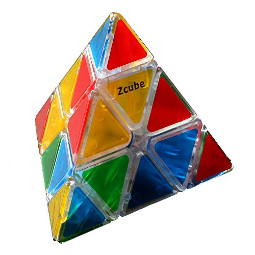 Zcube Stickerless Pyraminx Puzzle Cube, Triangle Rubiks in Transparent Colored