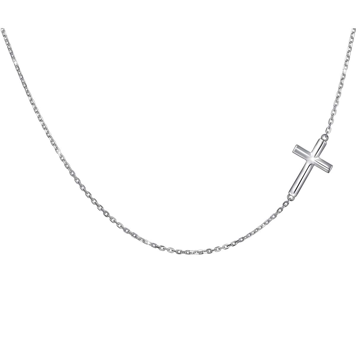 1ba2f9de40e0a1 S925 Sterling Silver Jewelry Sideways Cross Choker Necklace 14 inches to 18  inches product image
