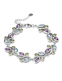 Natural Peridot, Amethyst & Blue Topaz 925 Sterling Silver Leaf 6.75-7-8.25 Inch Adjustable Bracelet