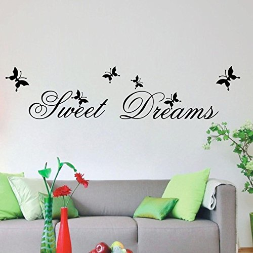 dfphh Wall Art Decor Decals Removable Mural DIY Sweet Dream Quotes Butterfly Home Decor -