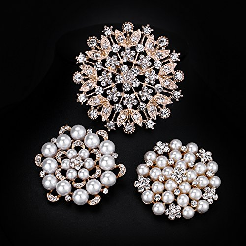 WeimanJewelry Silver/Gold Plated 24pcs Crystal Rhinestones Brooch Pins for DIY Wedding Bouquets Kit (Gold large 6pcs) by WeimanJewelry (Image #2)
