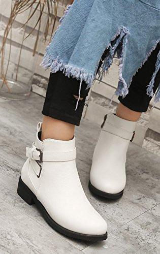 Talon Low Fermeture Bottines Boots Blanc Aisun Femme Bloc Mode Eclair wApqYSEI