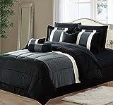 Oversized California King Comforter Sets 11-Piece Oversized Black & Gray Comforter Set Bedding with Sheet Set (California King)