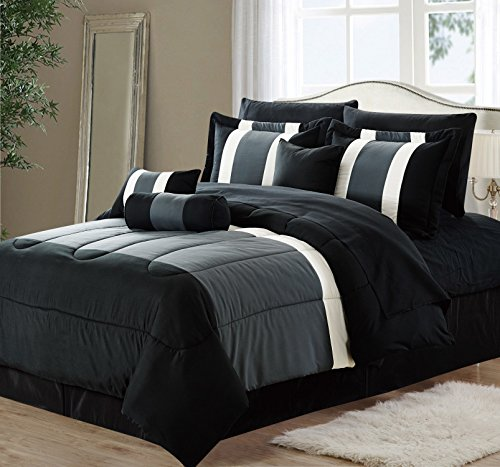 11-Piece Oversized Black & Gray Comforter Set Bedding with Sheet Set (King Size) ()