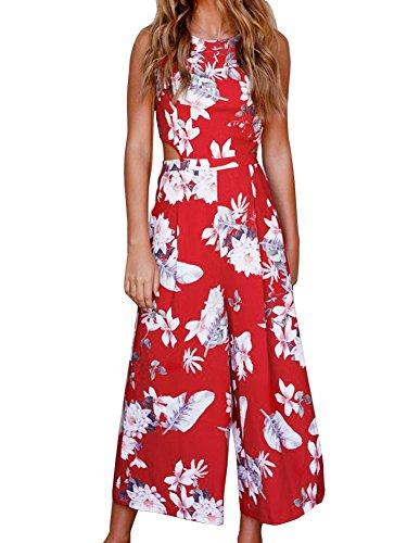 FANCYINN Women Floral Print Backless Long Jumpsuits Playsuit Wide Leg