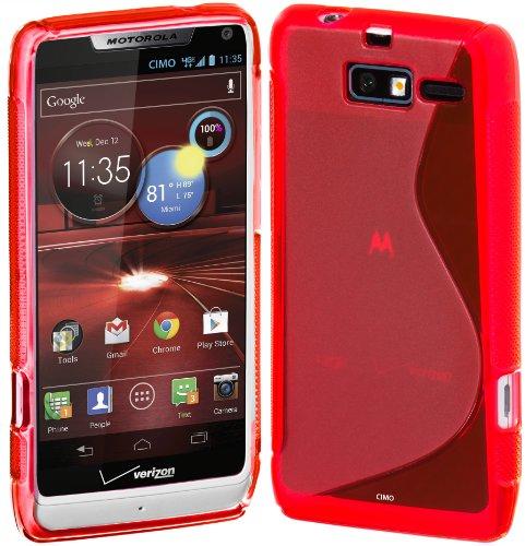 Cimo S-Line Back Case Flexible TPU Cover for Motorola DROID RAZR M - Red