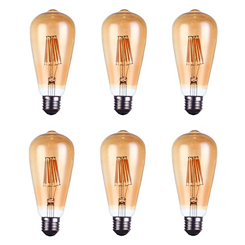 Modoao Led Antique bulb,8W Edison Style Vintage LED Filament Light Bulb,Incandescent LED Bulb E27 Base ST64, Warm White (2700K),Equivalent to 80W, 800 LM, Amber Color Glass Cover, 6 Pack Amber Color Cover