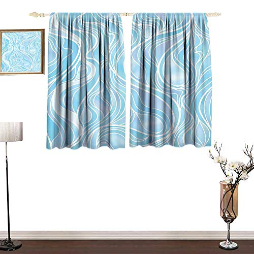 one1love Thermal Insulating Blackout Curtain Seafoam Stained Glass Patterned Ornamental Design Wavy Stripes Abstract Composition Printing Insulation W55 xL63