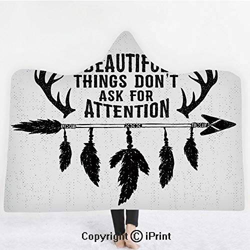 Antler Decor 3D Print Soft Hooded Blanket Adult Premium Throw Blanket,Lightweight Microfiber,Hand Drawn Hipster Design Arrow Feathers Grungy Primitive Indian Decor Decorative,All Season for Adult(60
