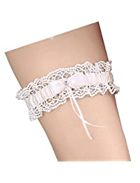 Beautydress Women Bridal Lace Bow Knot Toss Away Wedding Garter with Crystal BD089