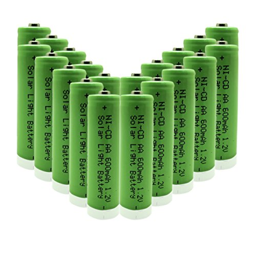 GEILIENERGY 1.2v AA NiCd 600mAh Rechargeable Battery for Solar light Lamp Green Color (Pack of 20pcs AA NI-CD Batteries)