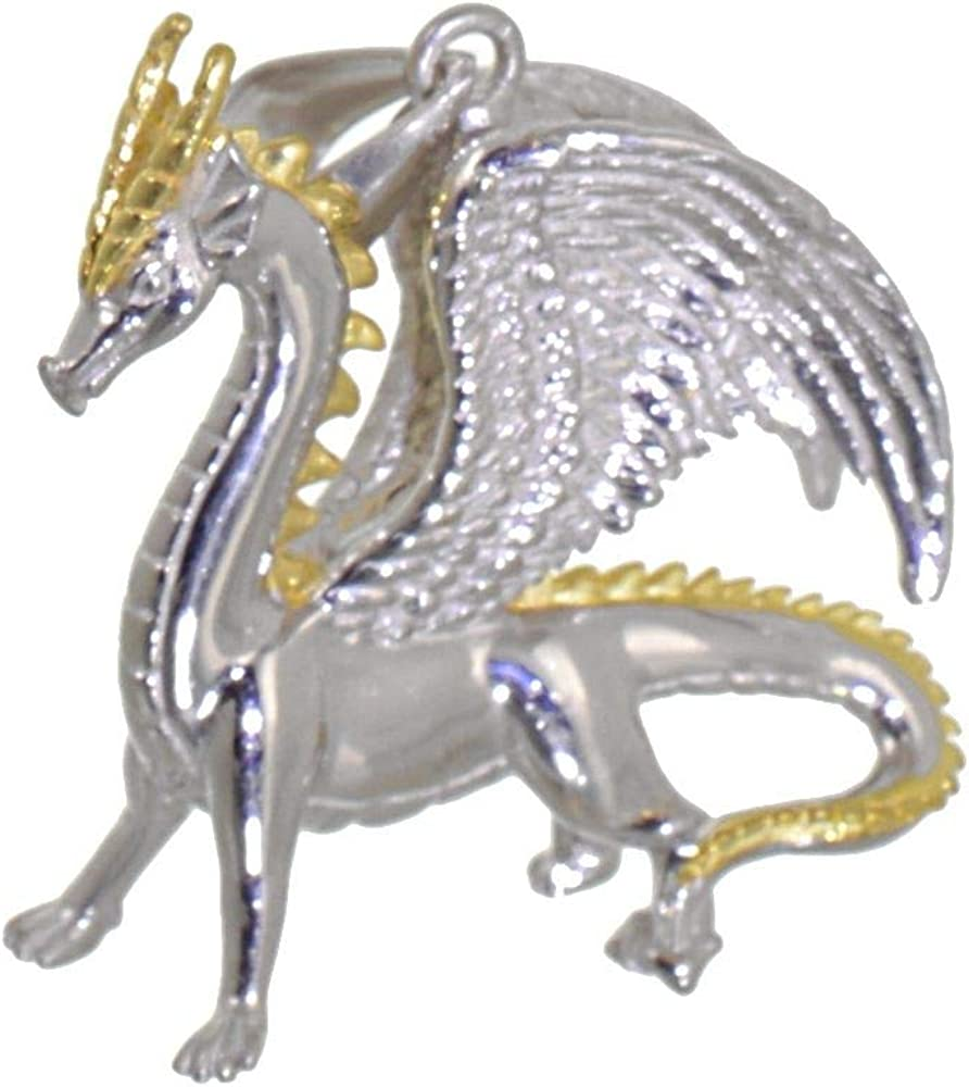 N38 Magical Sterling Silver and Gold Detailed Dragon Pendant Dragons Collection 24mm x 28mm