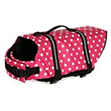 Dog Life Jacket Aquatic Pet Safety Preserver Vest with Reflective tape (M, Red Dot )