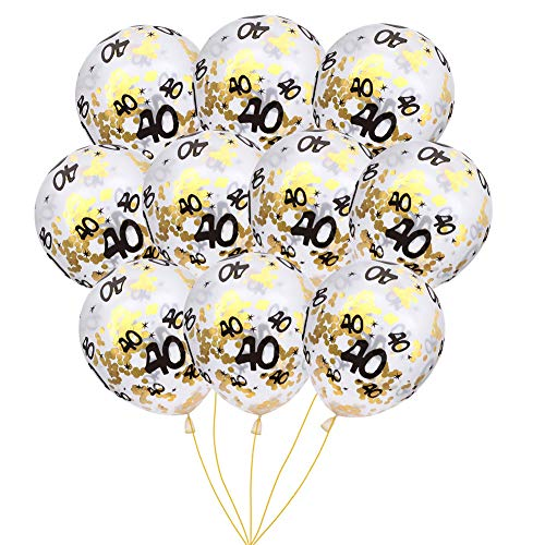MeySimon 40th Birthday Decorations 15pcs Clear Balloons with Gold Confetti Filled Printed 40 Latex Balloon for Happy 40 Year Old Birthday Party Favor (40th Confetti) -