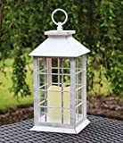 "13"" Country Style White Rustic Lantern with Flickering Flameless LED Candle and 4 Hour Timer"