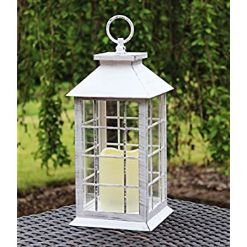 """13"""" Country Style White Rustic Lantern with Flickering Flameless LED Candle and 4 Hour Timer"""