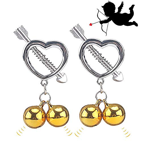 Kixnor 2Pcs Fake Nipple Rings Dangle Adjustable Non Pierced Stainless Steel Body Piercing Jewelry with Bell