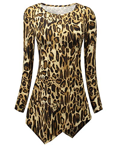 OUNI Tunic Long Sleeves for Women,Woman's Leopard Animal Print Casual T-Shirts Hankerchief Hemline Tunic Tops and Blouses Apricot Large ()