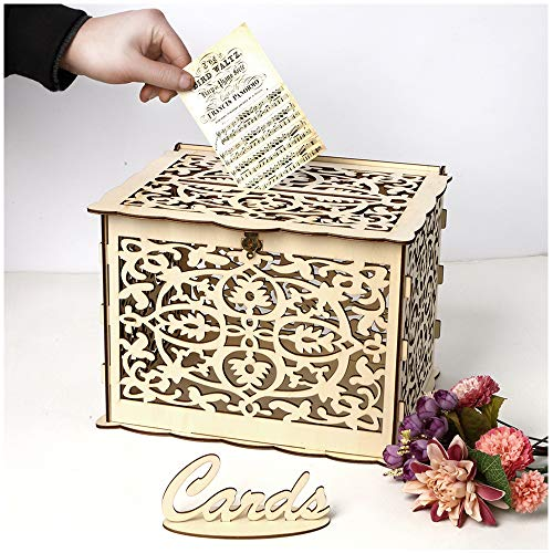 - DIY Wooden Wedding Card Box,Hollow Wedding Money Box Gift Card Holder Card Box with Lock and Card Sign Perfect for Graduation,Reception Wedding Anniversary,Baby Shower,Birthday Party Decorations.