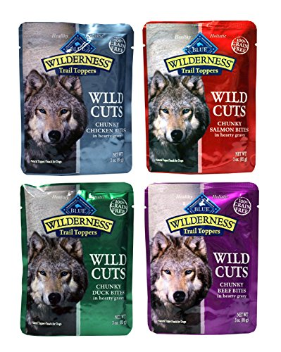 Blue Buffalo Wilderness Trail Toppers Wild Cuts Dog Gravy Snacks Variety Pack - 4 Flavors (Chunky Salmon, Beef, Chicken, & Duck) - 3 Ounce Each (4 Total Pouches)