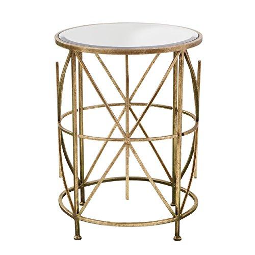 Southern Enterprises Antique Gold Accent Side Table - Starburst Motif Design w/Mirror Finish - Glam Design