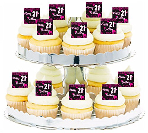 - Happy 21st Birthday Pink Zebra & Leopard Cupcake / Food / Appetizer Decoration Topper Picks - 12pk