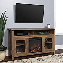 WE Furniture 58″ Wood Highboy Fireplace Media TV Stand Console, Driftwood