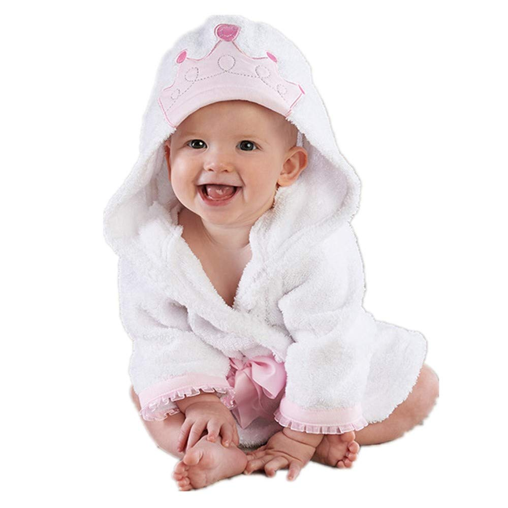 Infant Girl Bath Robes Wash Waddle Princess Crown Hooded Robe Girls Bathrobe Towel Terry 2-3 Year Ultra Absorbent (White Princess, M) by Hooyi