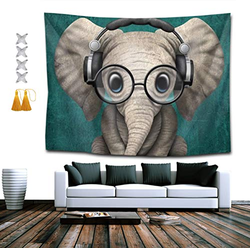 NiYoung Hippie Tapestry, Cute Elephant with Earphone Tapestries, Indian Dorm Decor, Psychedelic Tapestry Wall Hanging Ethnic Decorative 50x60 inches]()
