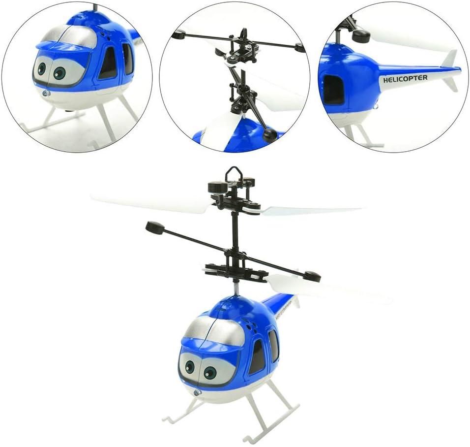 Creacom Intelligent Sensing Flying Toy Cartoon Intelligent Sensing Flying Toy Remote Control Helicopter Toy with LED Light Blue