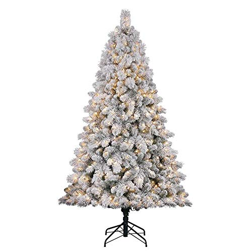 Home Heritage 7 Foot Artificial White Frosted Cascade Pine Christmas Tree with Adjustable White and Colorful Changing Lights (Flocked Christmas Trees)