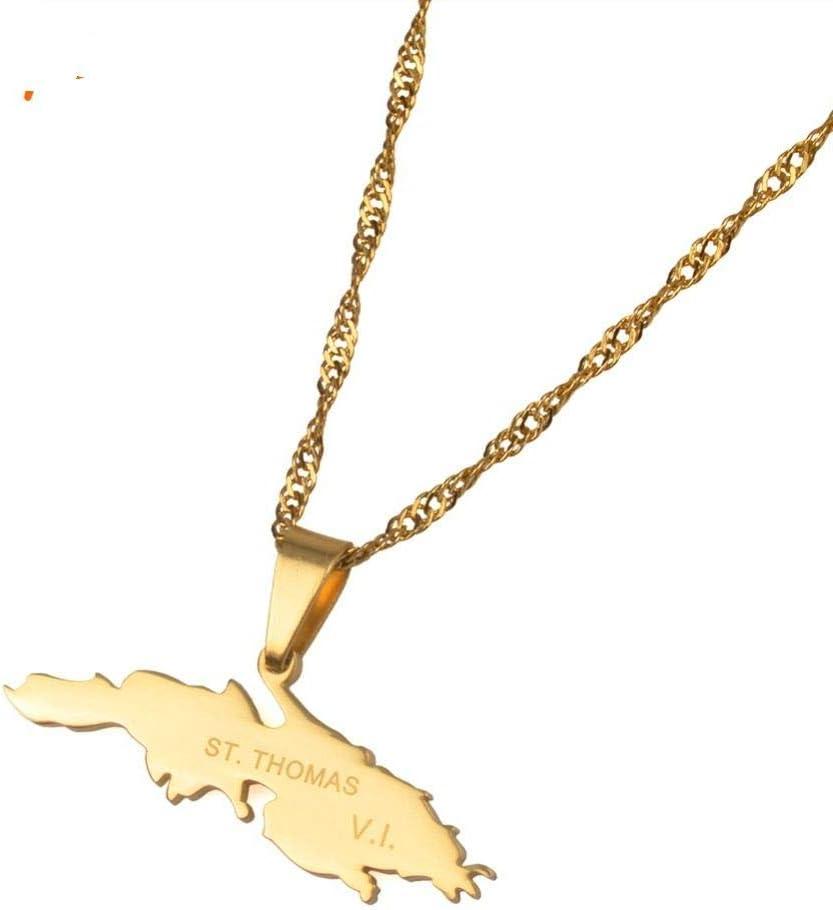 NSXLSCL Collar Mujer,Encanto De Moda Collares Pendientes Color Oro Isla De Santo Tomás Mapa Joyería Regalos para El Día De La Madre Regalo