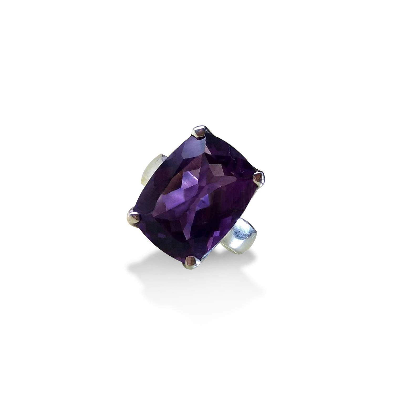 Purple amethyst ring size 7 February birthstone rings oxidized silver jewelry