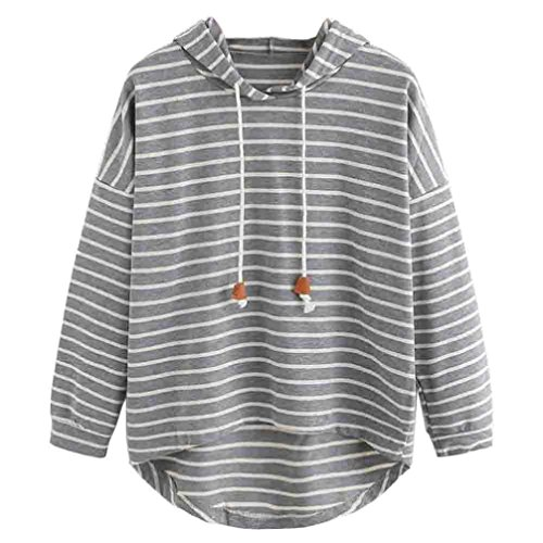 Women Stripe Hooded Sweatshirt, BSGSH Fashion Casual Loose Pullover Hoodie Tops (S, Gray)