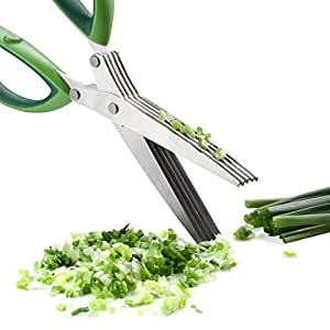 Besiva Herb Scissors Stainless Steel,Multipurpose Kitchen Shear with 5 Blades with Cleaning Brush (Green)