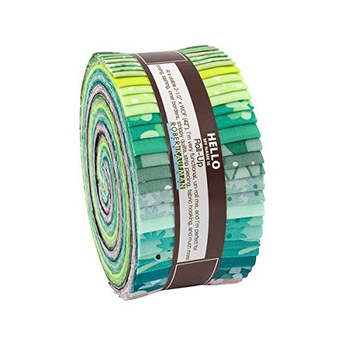 Elizabeth Hartman Terrarium Cool Roll Up 40 2.5-inch Strips Jelly Roll Robert Kaufman RU-716-40 by Robert Kaufman