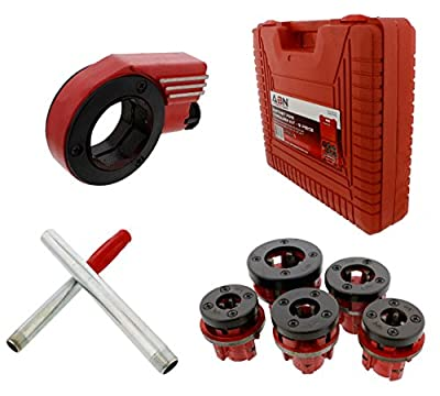 "ABN Ratcheting Pipe Threader Cutter 9-Piece Kit – with 1/4"" – 1"" Inch Pipe Thread Dies for Repairing Vehicle Threading"