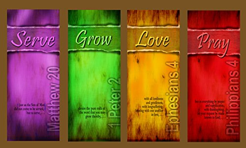 DailyIspirations4U Serve-Grow-Love-Pray (G617-1) (4) Large Size Church Banners for Indoor or Outdoor Use