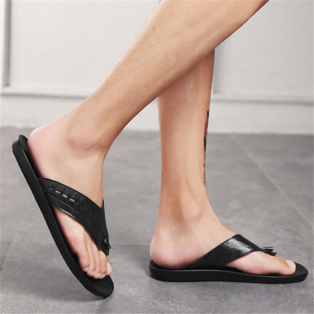 Wangcui Männer Flip Flops Outdoor Casual (Farbe Leder Strand Schuhe Anti-Rutsch-Schuhe (Farbe Casual : Braun, Größe : 40 EU) Schwarz 71c23d