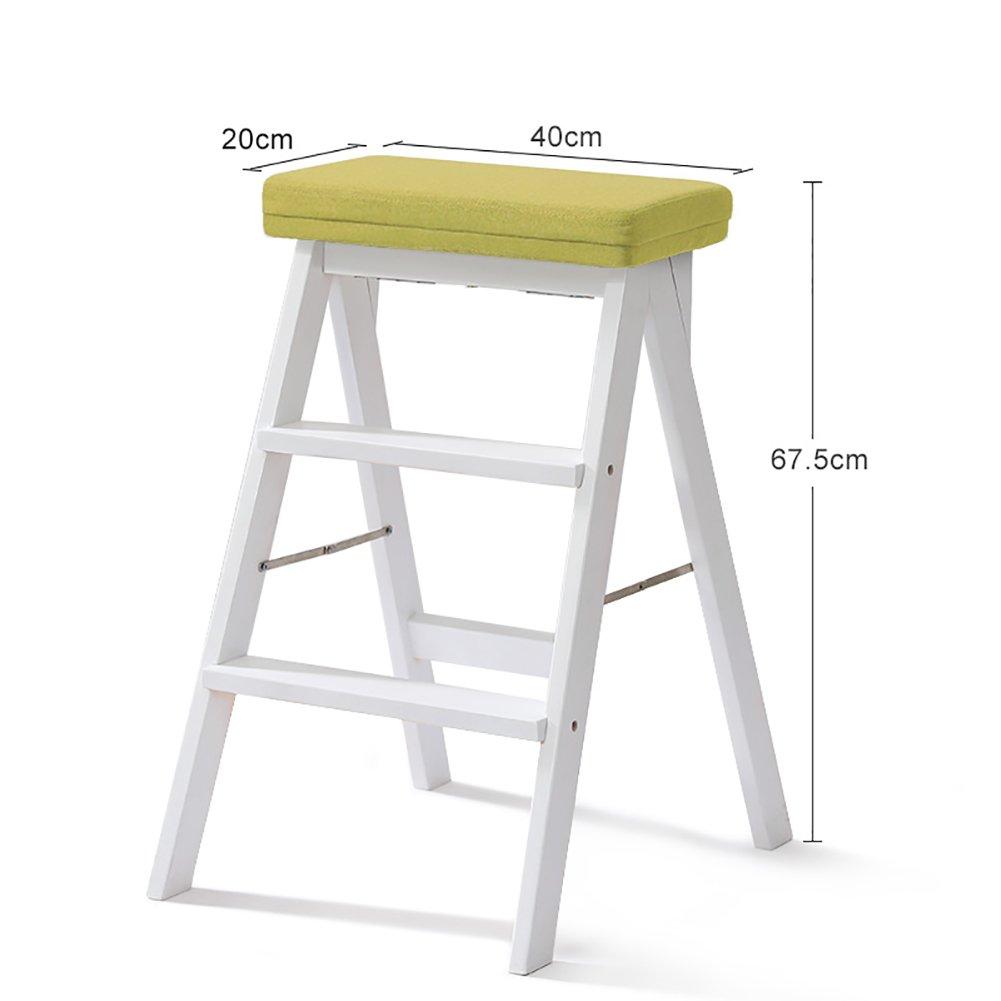 YXX- キッチン木製ステップスツールラダー大人用ソリッドウッド折りたたみ踏み台ポータブルフォールドアップフットスツール多機能スツールベンチ (色 : 白, サイズ さいず : #2) B07F66ZWTR #2|白 白 #2