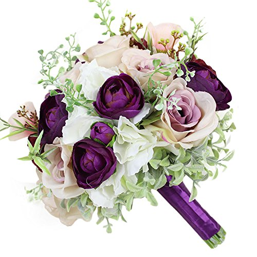 (USIX Handmade Natural Looking Artificial Peony Hydrangea w/Green Leaves Classic Picture-Perfect Wedding Bridal Holding Bouquet Bridesmaid Bouquet Throw Bouquet Wedding Flower Arrangements(Purple))