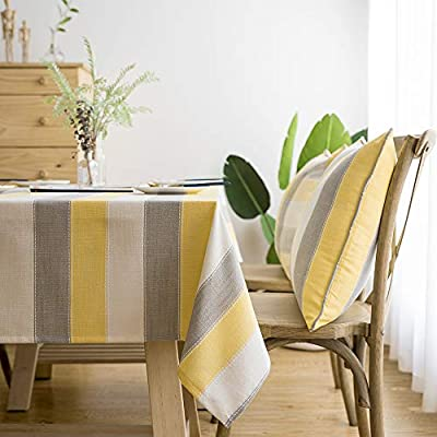 "LINENLUX Stylish Square Rectangular Tablecloth/Table Cover for Kitchen Dinning Tabletop Decoration Yellow Striped Rectangle/Oblong 55 X 70 in - Material: Linen cotton + Polyester / No harsh chemicals / Durable / Colorfast Features: Striped / Plaid / Wood Print / Triangles pattern on waterproof polyester tablecloth. Size: Measures 55"" Width x 70"" Length (140 x 180 cm), size deviation is between 1 to 2 inch - tablecloths, kitchen-dining-room-table-linens, kitchen-dining-room - 51D42zQYiIL. SS400  -"
