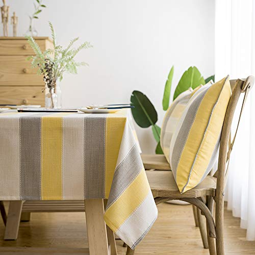 LINENLUX Stylish Square Rectangular Tablecloth/Table Cover for Kitchen Dinning Tabletop Decoration Yellow Striped Rectangle/Oblong 55 X 70 in