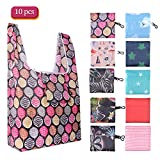 Reusable Grocery Shopping Bags(10 Pack), SZUAH Foldable Shopping Bags Grocery Tote with Attached